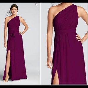 Long one shoulder sangria chiffon dress